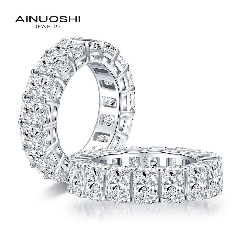 AINUOSHI 6x4mm Radiant Cut Full Eternity Ring for Women 925 Sterling Silver Sona Simulated Diamond Wedding Band Ring