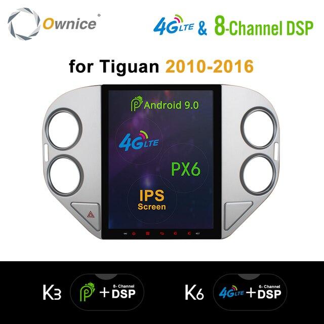 """Ownice テスラスタイル 8 コアの Android 9.0 Ips 9.7 """"オートカーマルチメディアプレーヤー Vw ティグアン 2010 2016 k6 ラジオ DVD PX6 4 グラム DSP HDMI"""