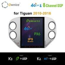 "Ownice tesla estilo 8 núcleo android 9.0 ips 9.7 ""reprodutor de multimídia carro automático para vw tiguan 2010 2016 rádio k6 dvd px6 4g dsp hdmi"