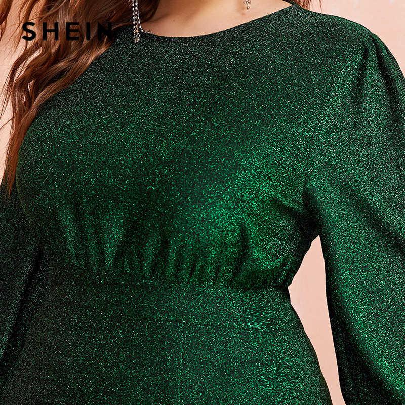 SHEIN Plus Größe Grün Laterne Hülse Wrap Dip Saum Glitter Maxi Kleid Frauen Herbst Hohe Taille EINE Linie Partei Glamorous kleider