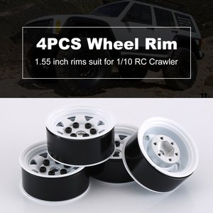 4 шт. металлический обод колеса Beadlock Ступица колеса 1,55 дюймов RC автомобиль Алюминиевый сплав черный обод колеса для 1/10 RC Гусеничный автомоби...
