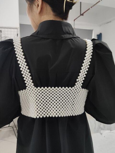 [BXX] Handmade Pearls Vest Women Tops 2021 Luxury Brand Designer New For Women Beading Vests Sleeveless Hollow Out Shirts HI451 3
