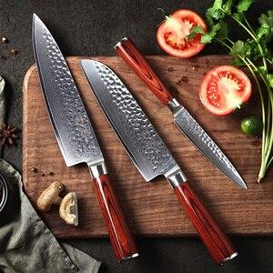 Image 2 - YARENH 3 sztuk zestaw noży kuchennych, japoński stali damasceńskiej Chef zestaw noży, drewno Pakka uchwyt, ostre narzędzia kuchenne z pudełko