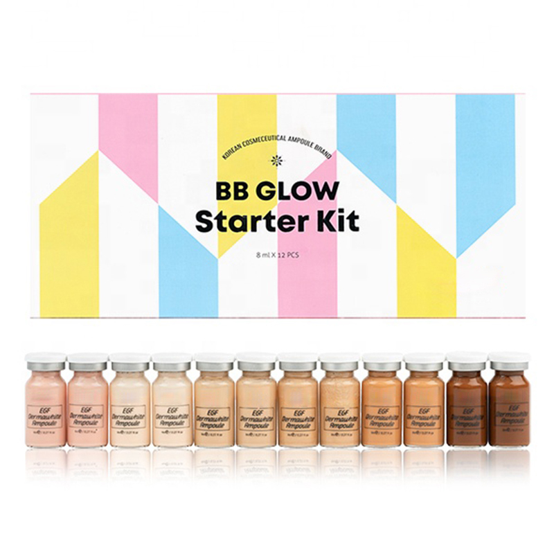 12pcs/box Derma White Booster Stayv-e BB Glow Serum Mix Kit With Add Foundation Niacinamide For Effective Brightening Anti-aging