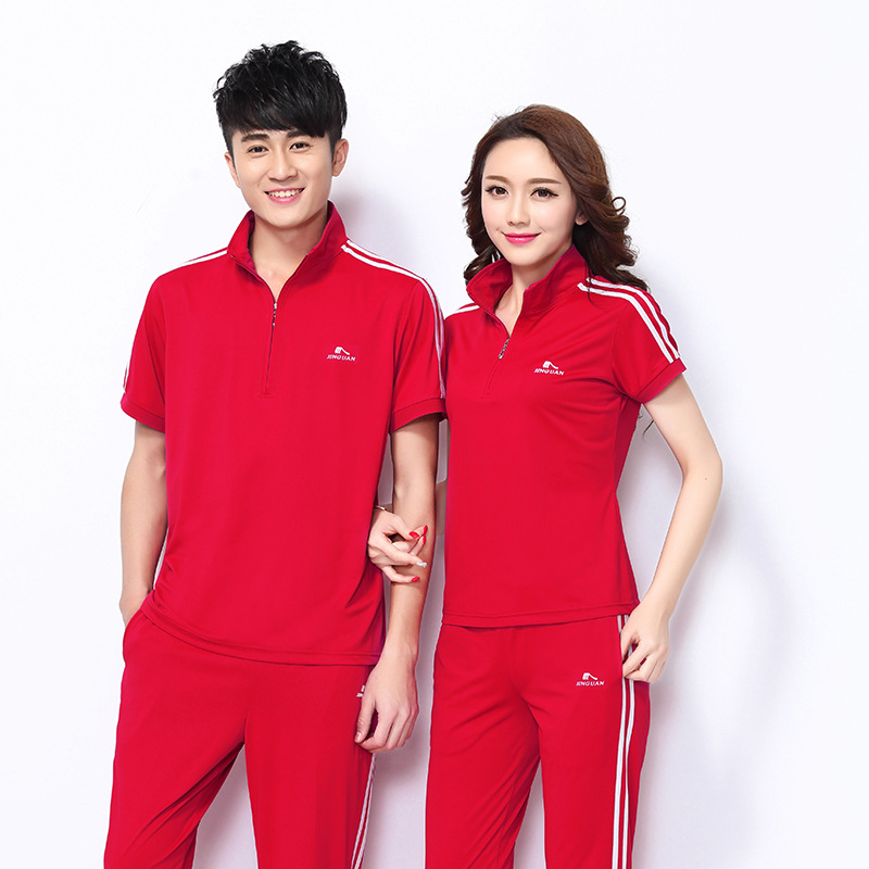 Jin Crown Summer Sports Clothing Men And Women Couples Sports Set Running Short Sleeve Trousers Hoodie Square Dance Casual Large
