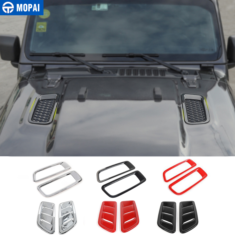 MOPAI Car Stickers For Jeep Wrangler JL Car Engine Hood Air Outlet Vent Decoration Cover Accessories For Jeep Wrangler JL 2018+