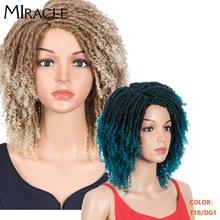 Miracle 6 pouces courte perruque Dreadlock torsion perruques pour les femmes noires Afro tressé perruque courte bouclés perruques synthétiques Ombre Burg Crochet perruque