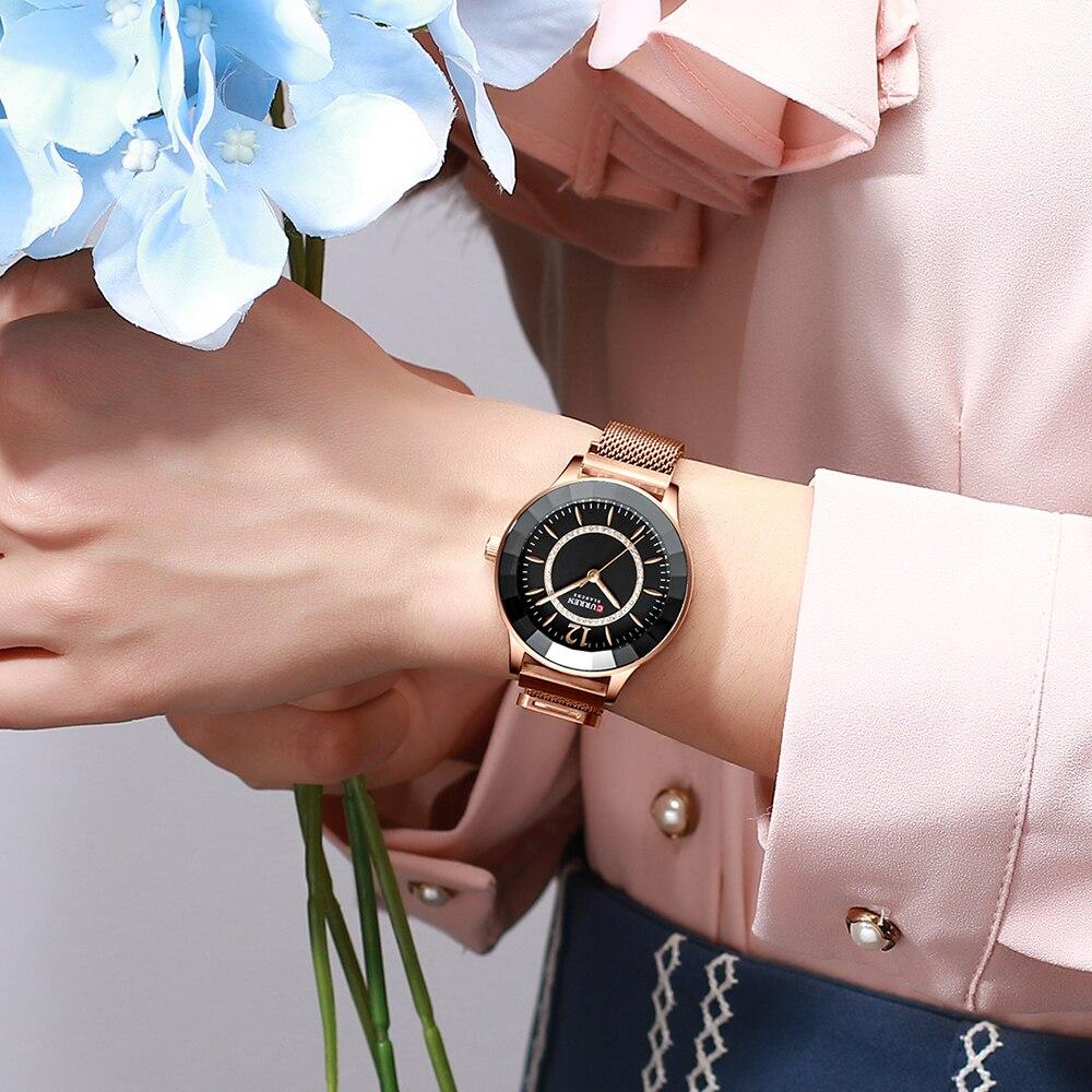 Image 5 - CURREN Charming Rhinestone Quartz Watch Fashion Design Watches Women Stainless Steel Band Clock Female Luxury reloj mujer-in Women's Watches from Watches