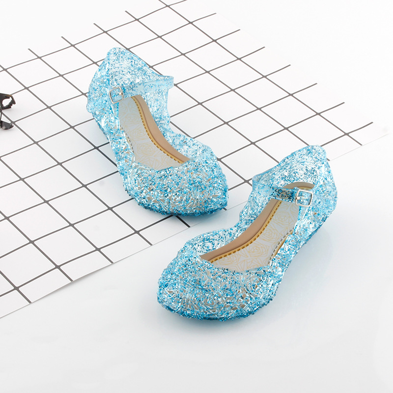 Summer Blue Elsa Shoes For Girls Crystal Sandals Princess Jelly High-Heeled Shoes Anna Elza Cosplay Party Dance Shoes