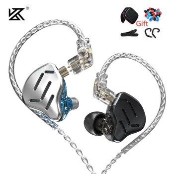 KZ ZAX 7BA+1DD Headset 16 Units HIFI Bass In Ear Monitor Hybrid Technology Earphone Noise Cancelling Earbuds Sport Earphones S1 kz zs10 4ba 1dd hybrid in ear earphone hifi running sport earphones earplug headset earbud for zs3 zsn pro s1 s2 zs10 pro