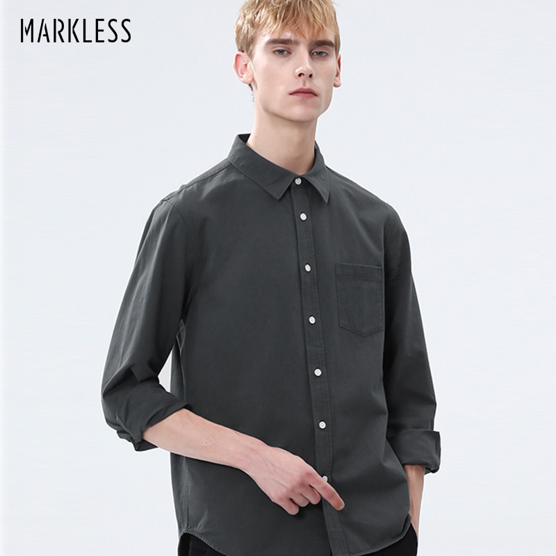 Markless Mens Casual Cotton Classic Fit Shirts Solid Long Sleeve Dress Shirts With Pocket Comfortable Top Wear CSA9527M
