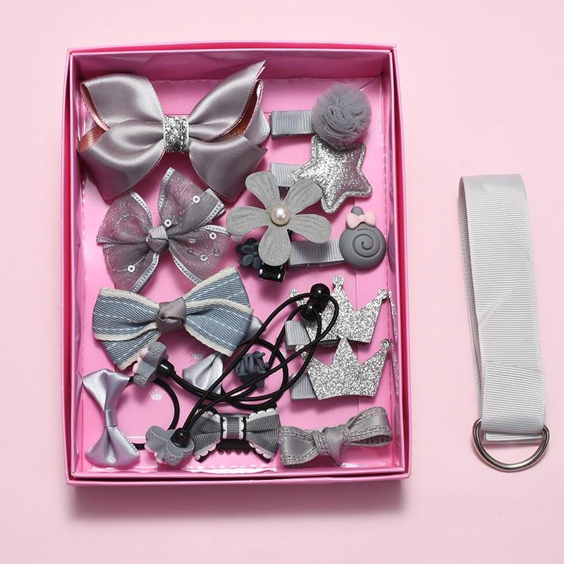 Ensemble de pinces à cheveux 18 pièces | Accessoires pour cheveux mignons de dessin animé, couvre-chef avec nœud de fleur, anneau de cheveux élastique, pour bande de cheveux