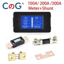 10a 50a 100a 200a 300a medidor digital dc 0-200v 9 em 1 amperímetro voltímetro lcd dc tensão atual energia detector amper shunt