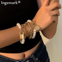 Punk Pearl Chain Angel Coin Pendant Bracelets Bangles Women Vintage Angel Lariat Beaded Lock Bracelets Set Friends Hand Jewelry
