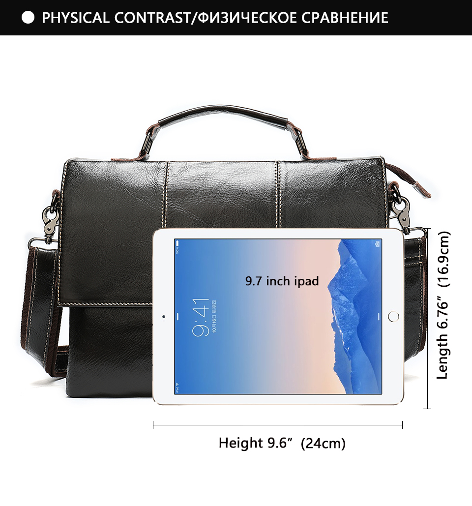 Ha371876b74db4f17ab0d7aad5c36b190N Bag Men's Briefcase Genuine Leather Office Bags for Men Leather Laptop Bags Shoulder/Messenger Bag Business Briefcase Male 7909