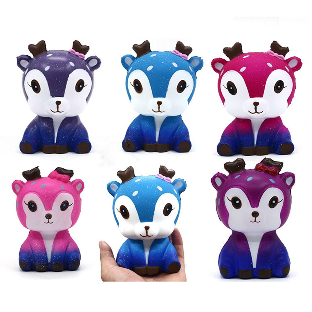 Mini Kawaii Cartoon Deer Squishy Slow Rising PU Cream Scented Stress Reliever Creative Squeeze Toy For Kidss Adults