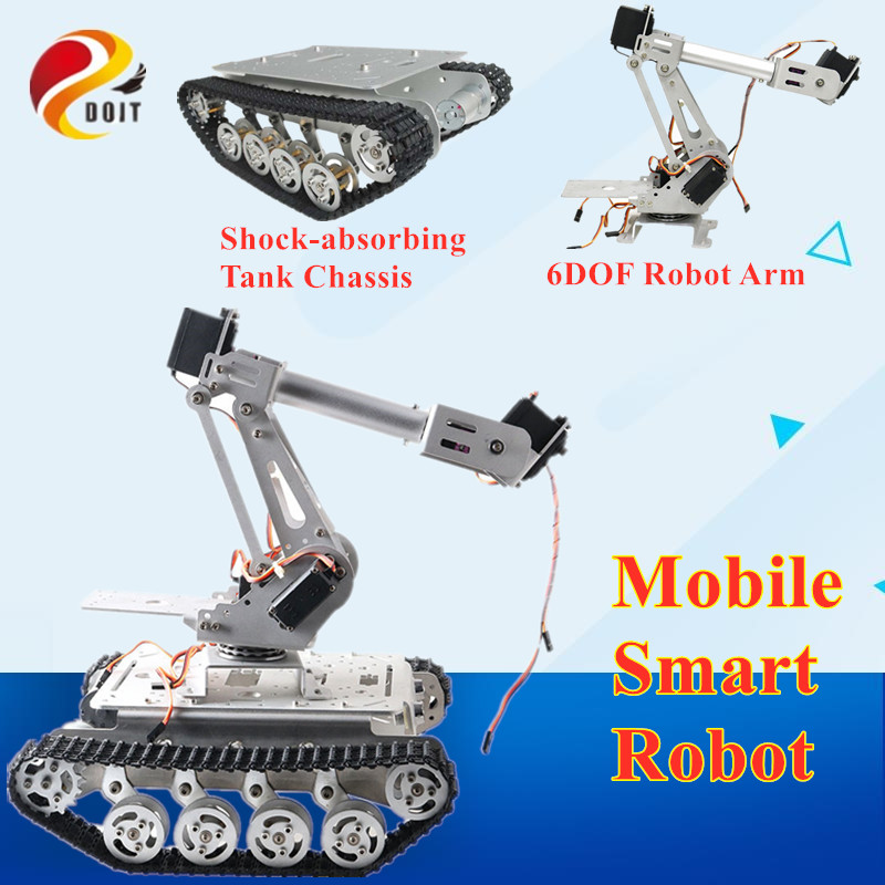 Mobile Smart Robot with <font><b>TS100</b></font> Shock Absorbing <font><b>Tank</b></font> Chassis +6 DOF Mechanical Arm for Grabbing Transport DIY WIFI/BT/Handle image