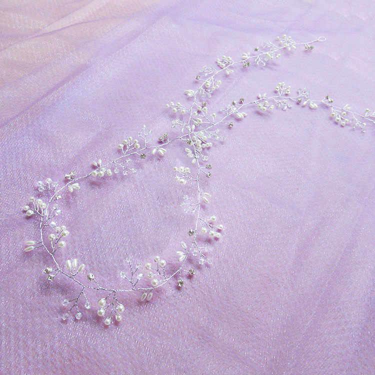 Новинка 2019, пояс для волос с кристаллами и жемчугом, свадебные украшения для волос, украшения для волос, украшения для волос для невест, свадебные аксессуары для волос 35 см