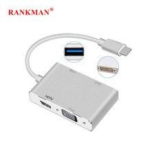 Rankman tipo c a 4k hdmi-compatível vga dvi usb c 3.0 adaptador para macbook superfície samsung s9 dex huawei p30 doca tv projetor