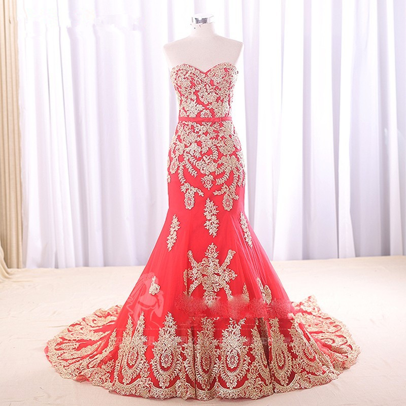 Fast Shipping In Stock Prom Gowns Gold Lace Appliques Sweetheart Handmade Beading Red Mermaid Evening Dresses