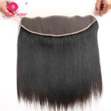 Ali Sugar Virgin Hair Straight 13*4 Lace Frontal 10-20 cali Natural Color 100 nieprzetworzone ludzkie włosy rozszerzenie tanie tanio Dziewiczy włosy Silky prosty 130 13 x 4 Średni brąz Brazylijski włosy Swiss koronki Ręka wiążący Pure color Wszystkie kolory