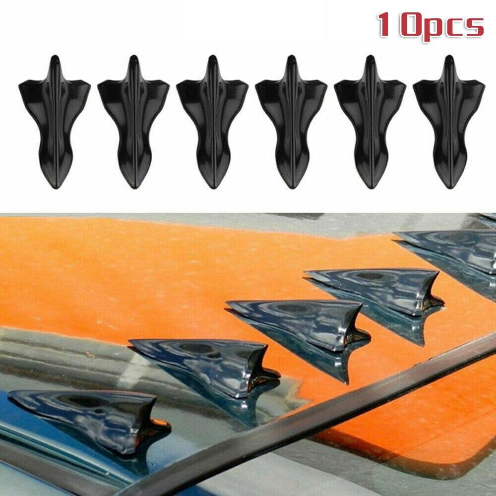 10 X Shark Fin Diffuser Vortex Generator For Car Windscreen Roof Spoiler Bumper Truck Exterior Parts