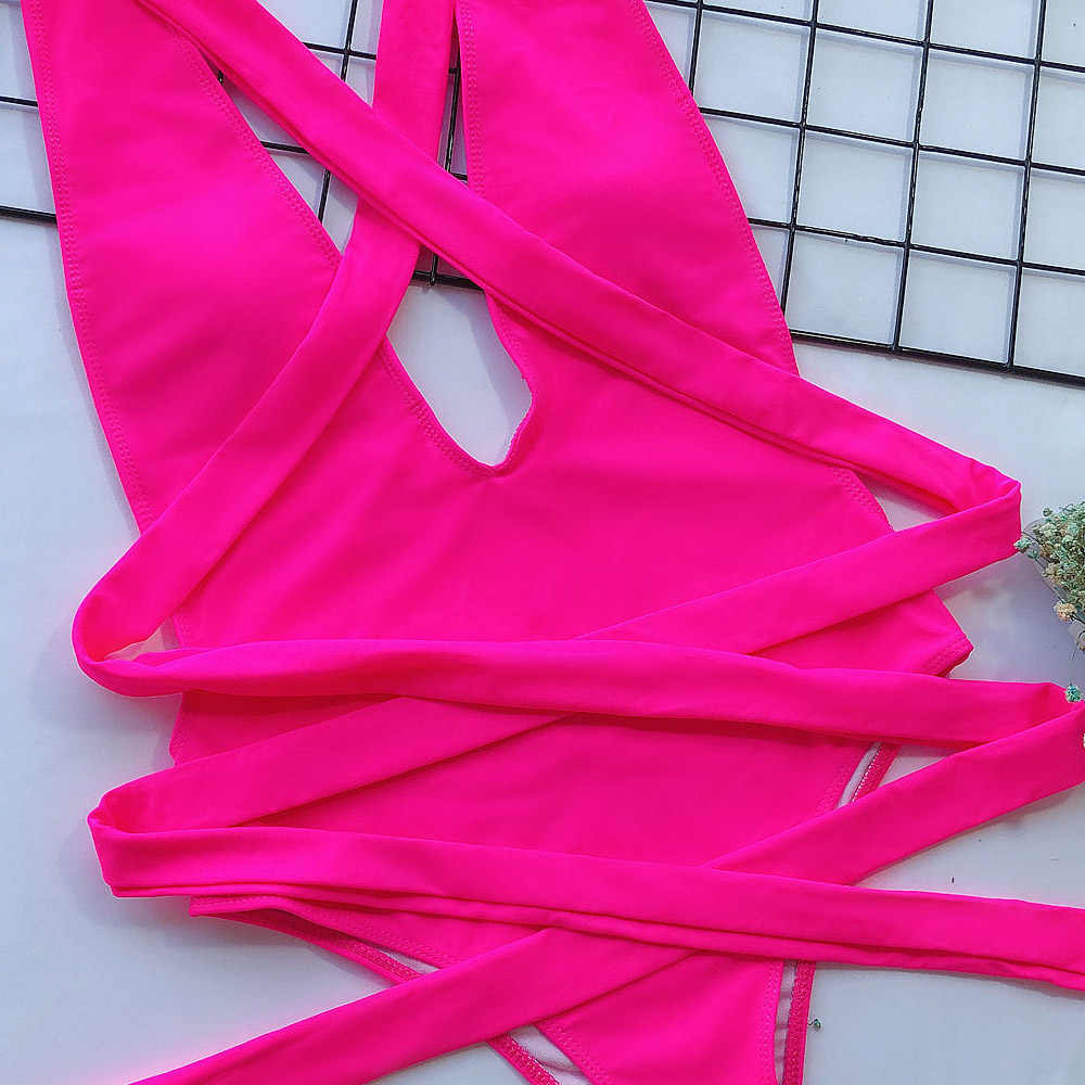 Vigorashely Sexy Scavato Halter Costumi Da Bagno Delle Donne Backless di Un Pezzo del Costume Da Bagno Femminile 2020 A Vita Alta Costume Da Bagno Monokini Nuotare