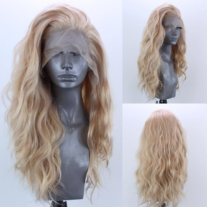Marquesha Blonde Natural Curly Synthetic Lace Front Wig For Women Glueless Heat Resistant Fiber Glonden Blonde Lace Front Wig