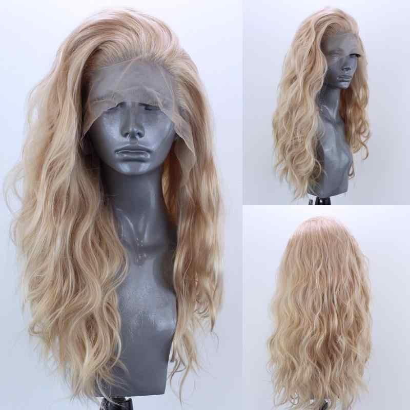 Peluca frontal de encaje sintético rizado Natural Marquesha para mujer sin pegamento resistente al calor fibra Glonden peluca delantera de encaje Rubio
