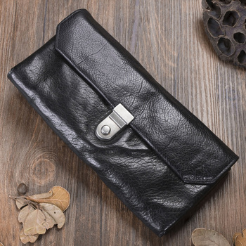 Genuine Cow Leather Long Mens Wallet Retro Brush Color Multifunction Trifold Purse Original Handmade Wallet Leather Card Holder