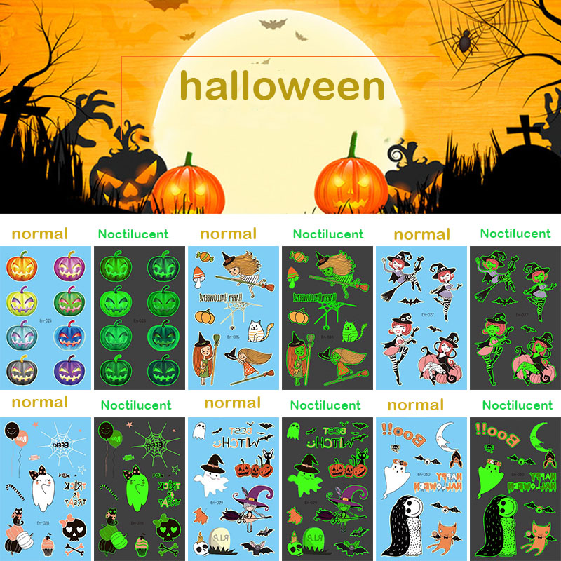 Luminous Halloween Tattoo Sticker Children's Strange Behavior Pumpkin Bat Cat Ghost Pattern Glitter Temporary Kids Tattoo RA037