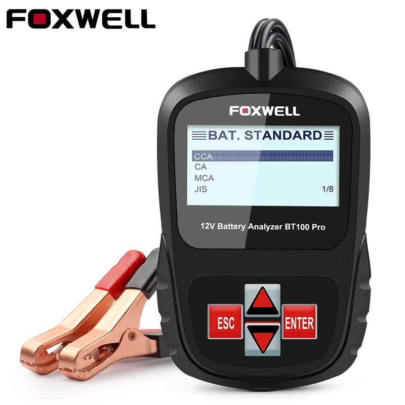 Foxwell BT100 12V Car Battery Tester Analyzer 1100CCA for Flooded AGM GEL Auto