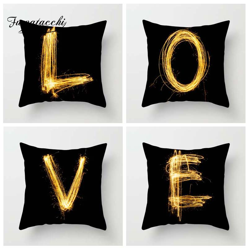 how to use decorative pillows fuwatacchi gold letter alphabet printed pillowcase decorative how to use throw pillows on a bed fuwatacchi gold letter alphabet printed