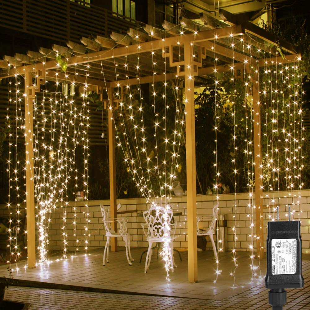 8 Modes Linkable 3x3M 300 LED Window Curtain String Light Home Garden Decorative Lights For Christmas Party Wedding Patio Lawn