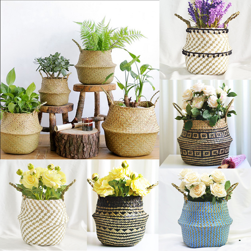 Handmade Bamboo Storage Baskets Nordic Foldable Laundry Straw Wicker Rattan Seagrass Belly Garden Flower Pot Planter Basket
