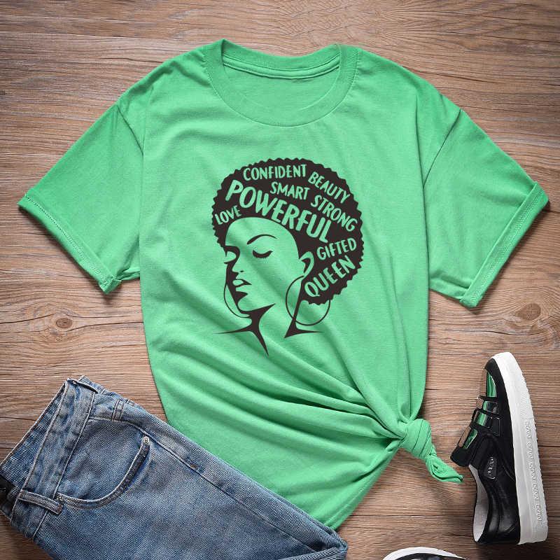 אפרו ליידי גרפי T חולצות פמיניסטית Tees שחור מלכת ילדה כוח סיסמא T חולצת נשים מלנין tshirt Streetwear חולצות