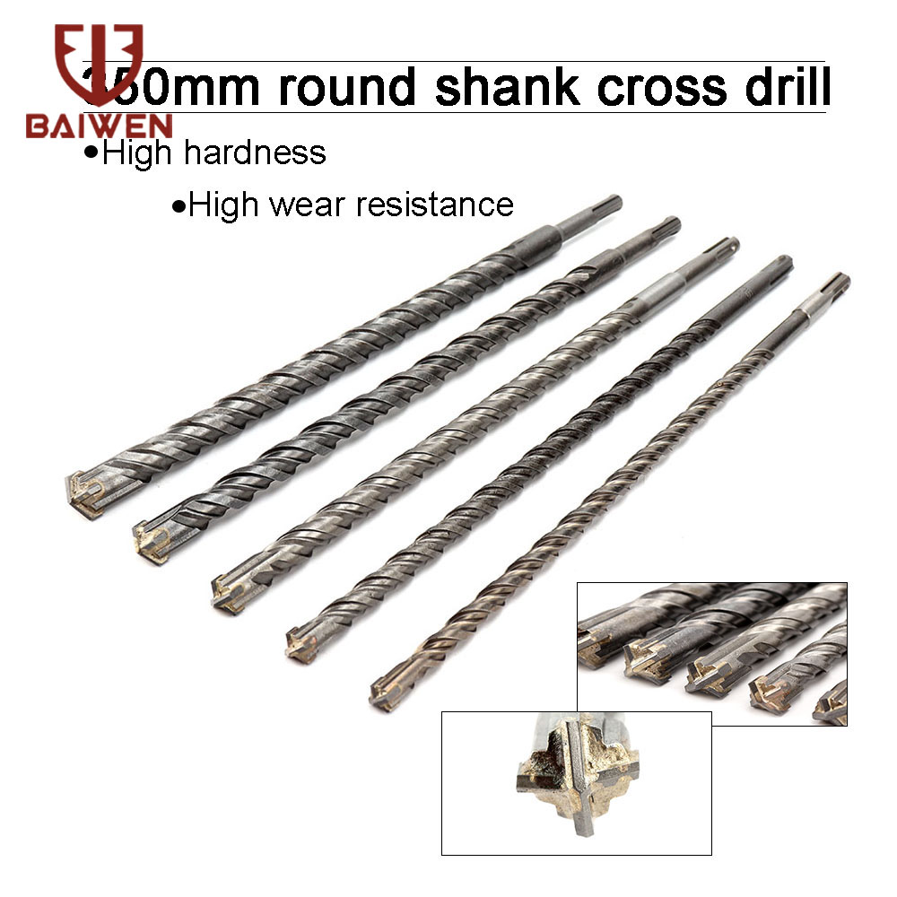 350mm SDS Plus Hammer Drill Carbide Cross Tip Rotary Tool Drill Bits & Chisel SDS Plus Bits Concrete Fits Hilti