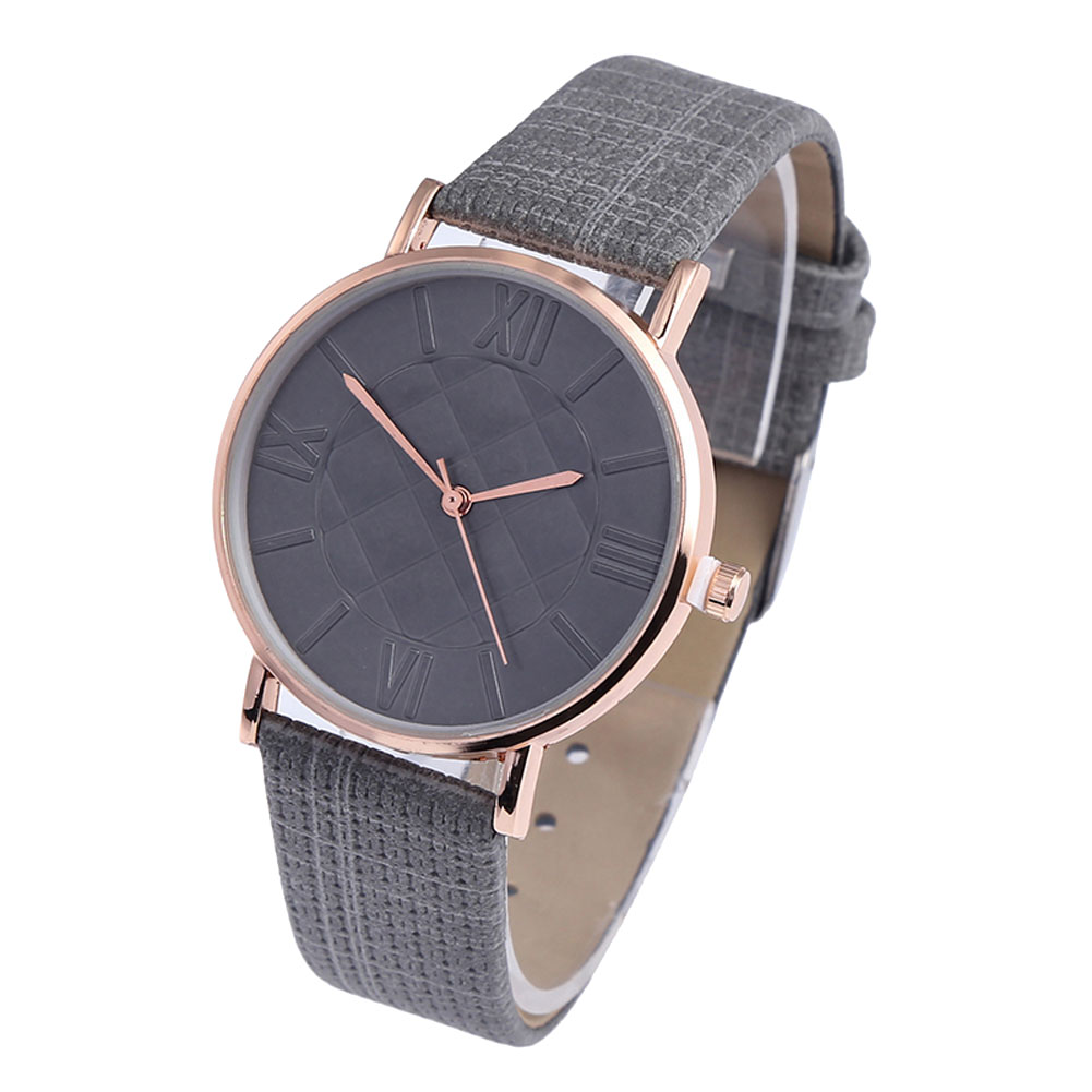 Comfortable Couple Watches Ladies Casual Quartz Watches Simple Fashion Round Dial Soft Leather Strap LL@17