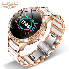 LIGE Luxury Smart Watch Women IP67 Waterproof Sport Fitness Tracker For Android IOS Reloj inteligente Ceramic Strap smartwatch