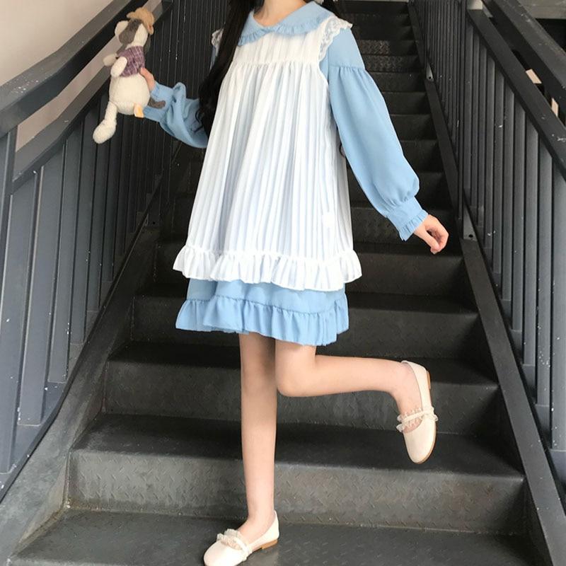 Sweet Cute Kawaii Girls Lolita Dress Princess Maid Vintage Ruffles Dresses Puff Sleeve Red Black Pink Women Dress Round Collar 8