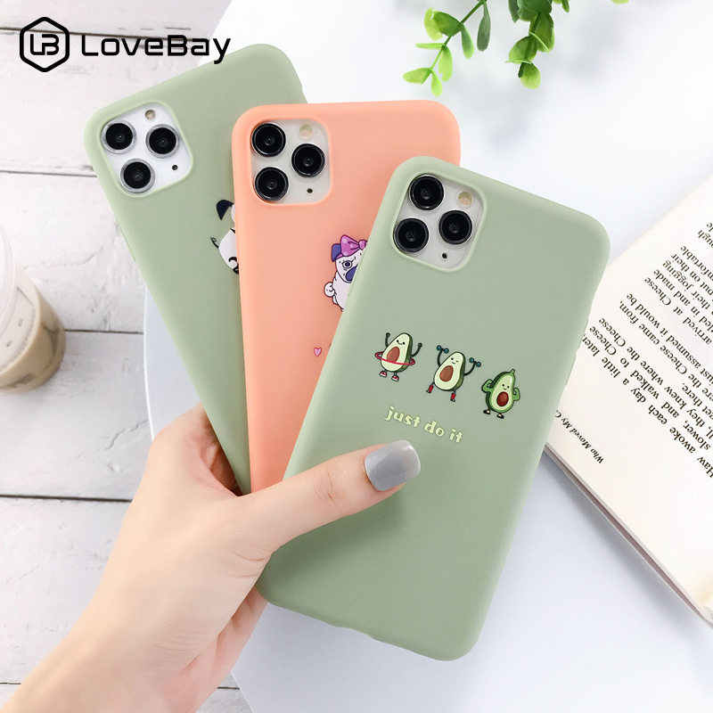 Lovebay Silicone Avocado Cactus Phone Case For iPhone 11 Pro X XR XS Max 7 8 6 6s Plus 5s SE Couples Candy Color Soft Back Cover
