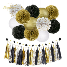 NICROLANDEE Black Gold Tissue Paper Pom Poms Lanterns Garland Tassel for Graduations Prom Night Wedding Birthday Party Supplies 5pcs 20cm multiple colors tissue paper pom poms flower balls party wedding home birthday supplies home decorations