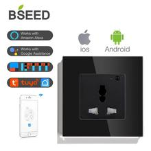 BSEED Multifunction Wifi Wall Socket Smart Outlet Black White Gloden Colors Crystal Panel 13A Power Support For Tuya App