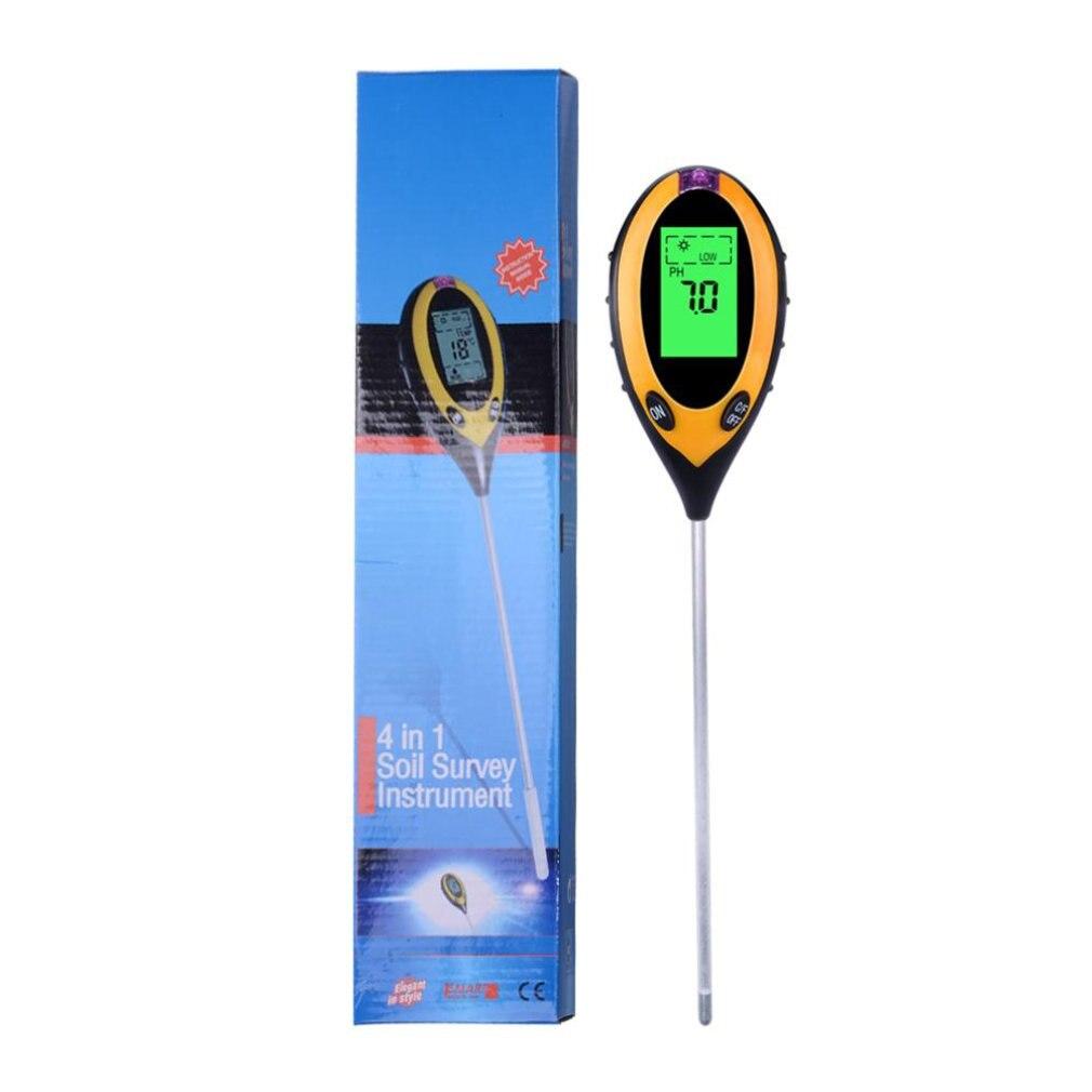 Four In One Soil Tester Electronic Digital Soil Ph Meter Soil Acidity Meter Hygrometer Illuminometer PH Meters     - title=