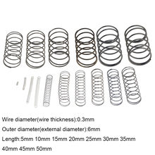 10 sztuk 0.3*6*5-50mm sprężyna ze stali małe zwolnienie kompresji mechaniczna sprężyna powrotna sprężyna dociskowa OD 6mm 0.3x6x5-50mm