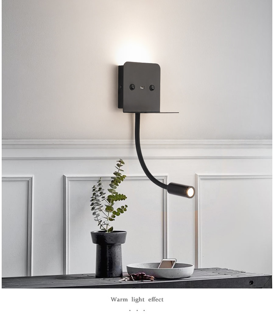Modern Led Wall Lamp Usb Phone Charger Bedside Reading Light With Shelf For Bedroom Hotel Guestroom Wall Mounted Night Lights Led Indoor Wall Lamps Aliexpress