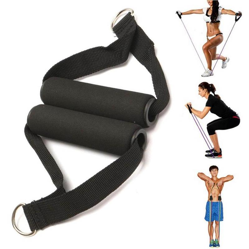 1 Pair Sports Fitness Latex Tube Pull Handle D-ring Connection Elastic Rope Handle Gym Strength Training Accessories