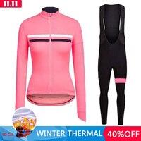 RCC Pro Team Winter Thermal Fleece Cycling Clothes Women Long Sleeve Cycle Jersey Outdoor Riding Bike MTB Clothing Bib Pants Set