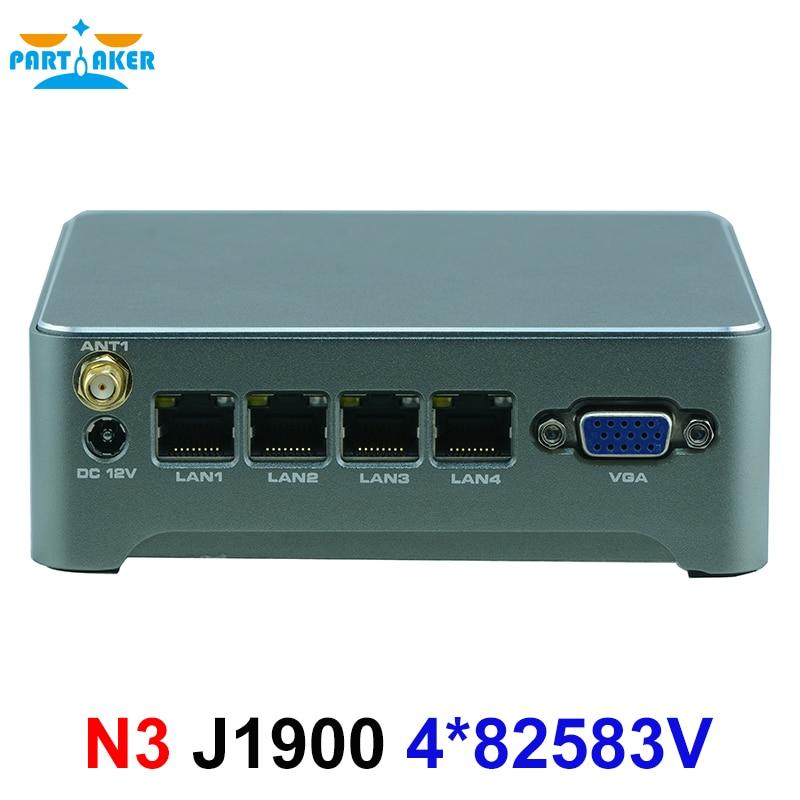 Partaker N3 Mini PC Router Firewall Intel Celeron 1900 Quad Core Fanless Nano 4 Ethernet Ports VPN Pfsense Mini PC