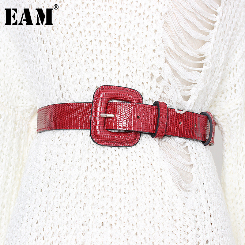 [EAM]  Pu Leather Multicolor Black Big Buckle Long Belt Personality Women New Fashion Tide All-match Spring Autumn 2020 1D175